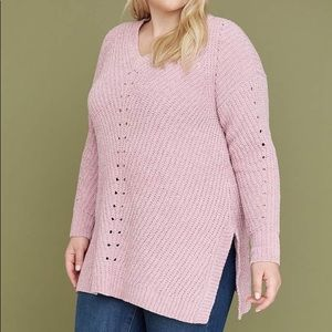 Lane Bryant Chenille Tunic Sweater in Mauve NEW
